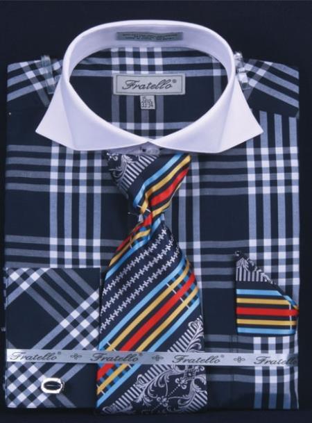SKU#NP382 Mens French Cuff Dress Shirt Set White Collar Two Toned Contrast Deep Checker Navy Plaid ~ Windowpane