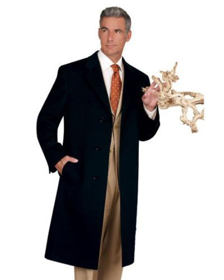 Mens Dress Coat Real 100% Cashmere Overcoat Available in Black or Navy Blue or Charcoal or Camel Color