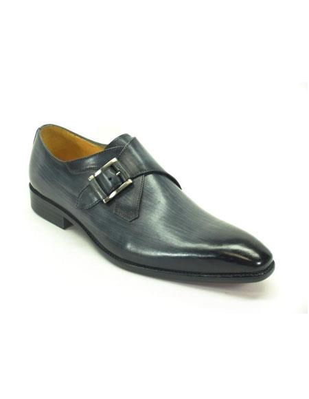 Mens Carrucci Navy Monk Strap Buckle Leather Fashionable Loafer