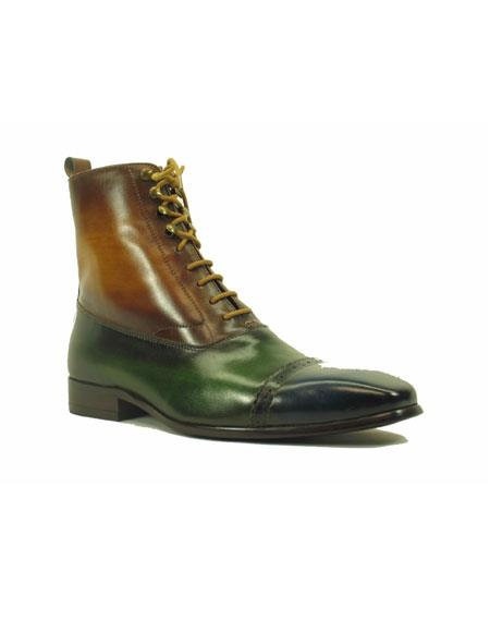 Mens Lace Up Navy ~ Olive ~ Cognac Genuine Leather Side Zipper Shoes