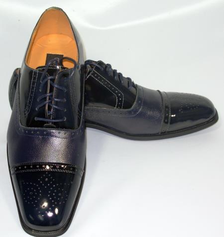 SKU#KA5002 Cap Toe Navy Oxford Leather Dress Shoe