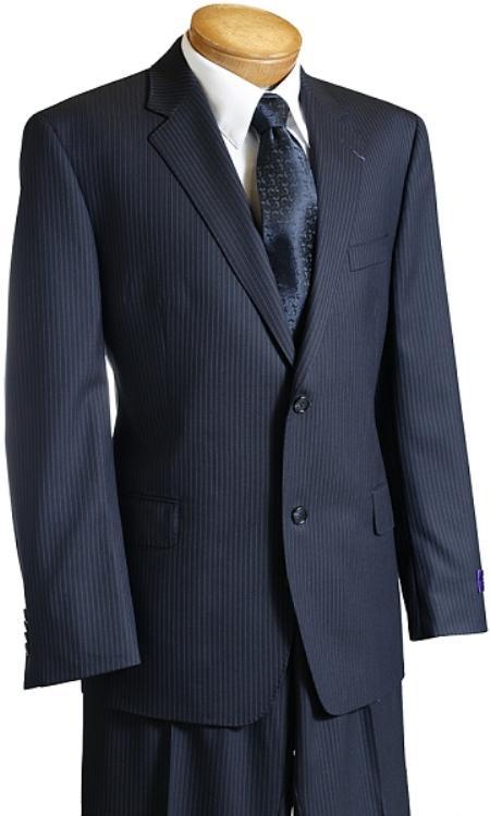 Suit Separate Mens Dark Navy Pinstripe Wool Italian Design Suit Navy