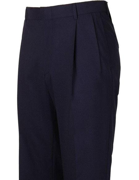 Men's Navy Pleated Style Atticus Classic Fit Wool Pant unhemmed unfinished bottom