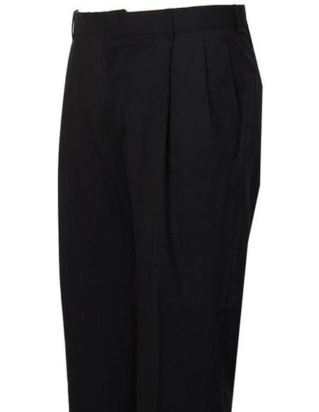 Mens Navy Stylish Pleated Atticus Classic Fit Wool Pant unhemmed unfinished bottom