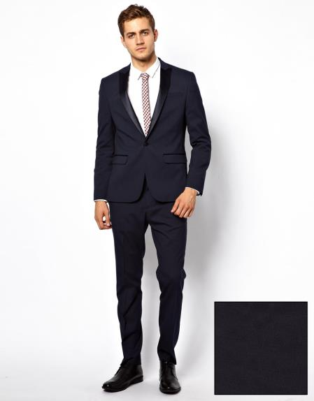 Mens Slim Fit Tuxedo Suit in Dark Navy