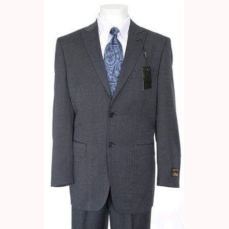 SKU#NV629 Slim Fitted Peak Lapel Side Vents Mens Navy Blue Suit 2 Buttons