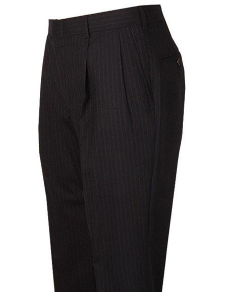 Mens Navy Striped Pattern Pleated Style Wool Atticus Classic Fit Pant