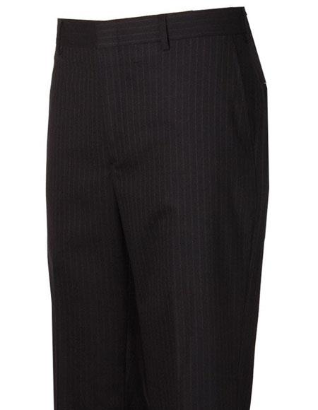Men's Flat Front Style Navy Striped Pattern Wool Atticus Classic Fit Pant unhemmed unfinished bottom