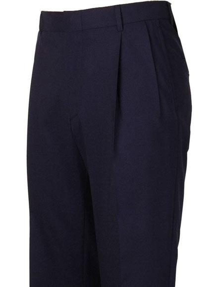Men's Stylish Pleated Navy Atticus Classic Fit Wool Pant