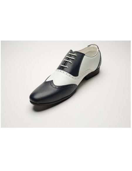 Mens Two Toned Lace Up Navy/White Casual Dress Oxford Shoes Perfect for Men