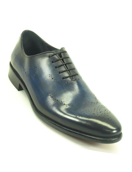 Carrucci Mens Navy Lace Up Style Whole Cut Oxford With Medallions Shoe