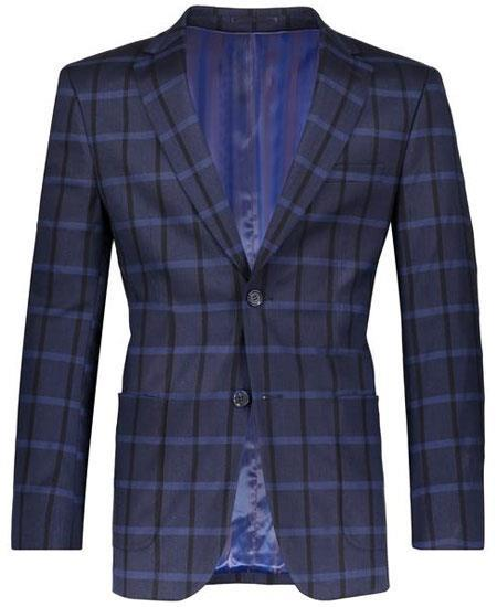Navy Slim Fit Plaid ~ Windowpane ~ Checker Men's Blazer