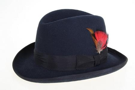 SKU#NV2576 Mens Wool Felt Fedora Navy
