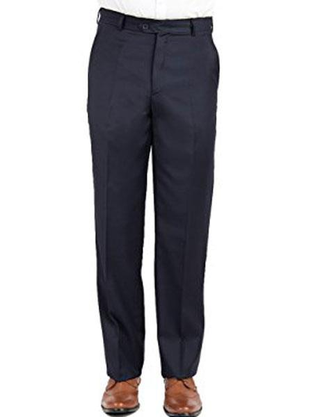 Mantoni Mens Wool Modern Fit Navy Front Front Pant