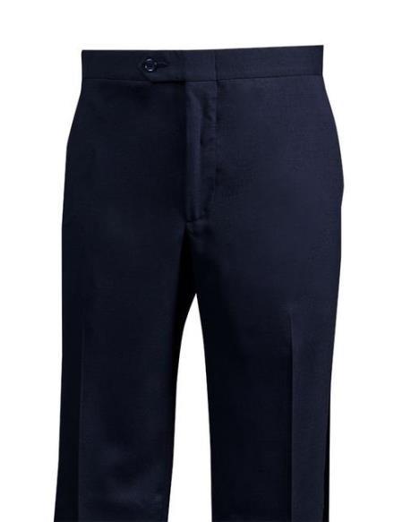 Mens Navy Wool Flat Front Dress Pants unhemmed unfinished bottom