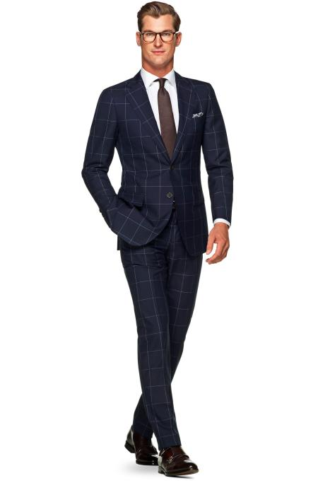 Navy Blue Suit - Navy Suit Mens 2 Button 100% Wool Windowpane checkered check pattern Dark Navy Slim Fit Suit