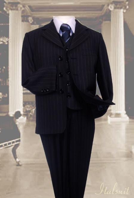 Vintage Style Children's Clothing: Girls, Boys, Baby, Toddler Navy 3pc Pinstripe Suit With Vest For Kids $65.00 AT vintagedancer.com