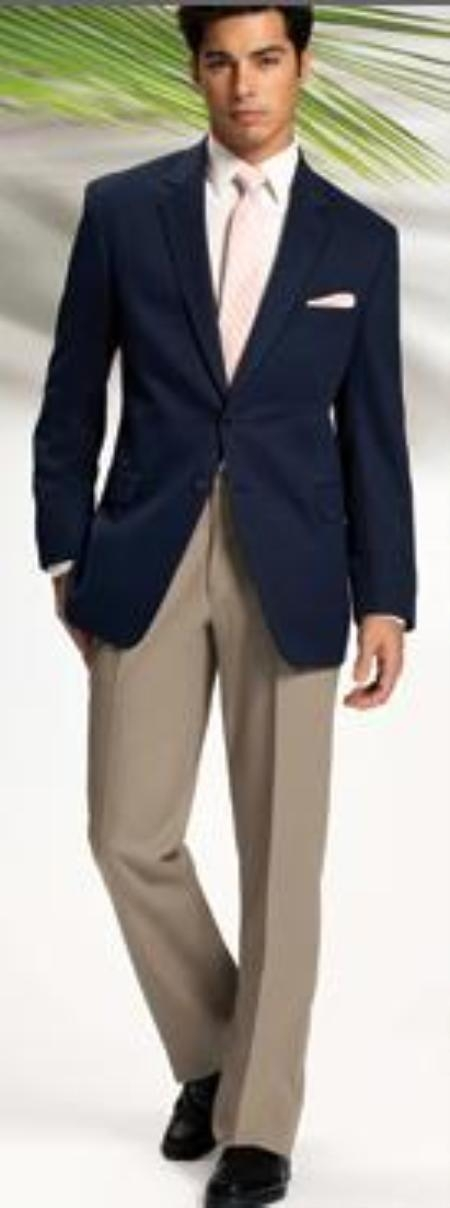 SKU#MASH2 Solid Navy Blue 2 Button Sport Coat Jacket Blazer + Tan~Beige Dress Pants (As Seen On The Picture) $159