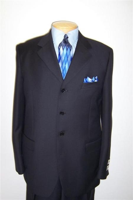 SKU# 49 Navy Blue 4 Buttons Wool Mens Suit $99