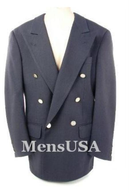 SKU# IQP482 Navy Blue Classic Double-breasted jacket has 6 gold buttons on 1 Front Center Vent $299