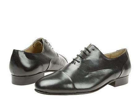 SKU# 65444 Navy Blue Classic folded captoe bal oxford in shiny brush-off antique leather. $99
