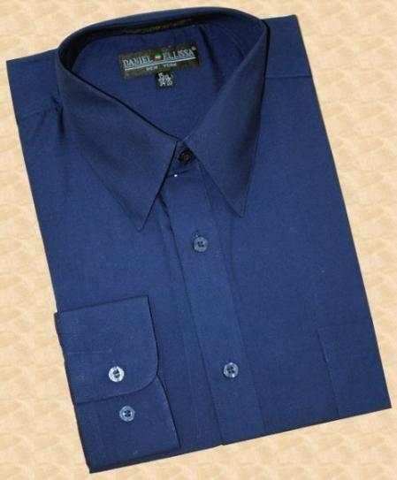 SKU#CG111 Navy Blue Cotton Blend Dress Shirt With Convertible Cuffs