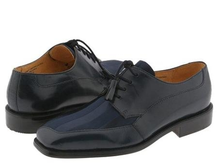 SKU# 81213 Navy Blue Four eyelet blucher with calf and stretch fabric. Leather sole.