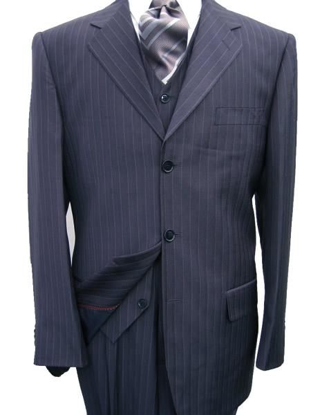 SKU# MANA_303_300A  Navy Blue Pinstripe Vested 3 PC three piece suit Super 120s Wool Feel Extra Fine Poly~Rayon $149