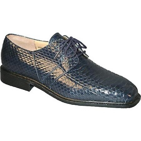 SKU# 15522 Navy Blue Plain toe 4 eyelet blucher with snake skin. Man-made sole $119