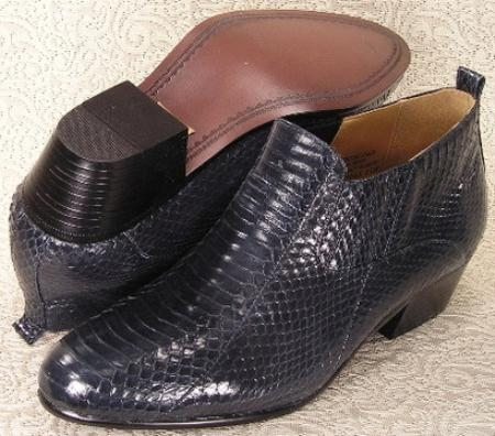 SKU#MU15064 Navy Blue Pointy toe demi-boot in genuine snake skin with side gore. Durable man-made $700