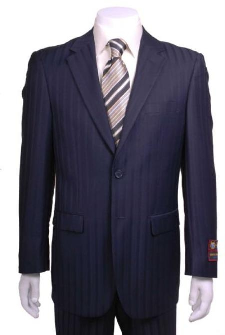 SKU#ER823 Navy Blue Shadow Striped 2 Button Vented without pleat flat front Pants with $139.00