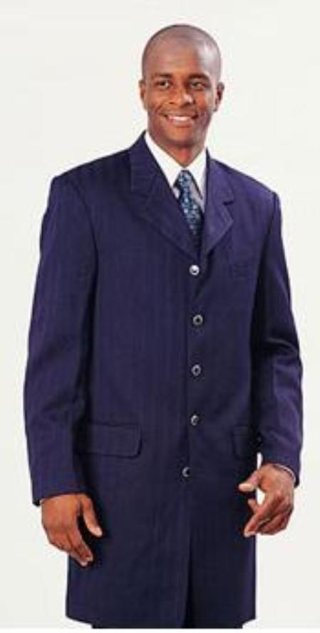 SKU#MUA89018 Navy Blue Shiny Gangster Ton On Ton Shadow Pinstripe Fashion Long Zoot Suit $159