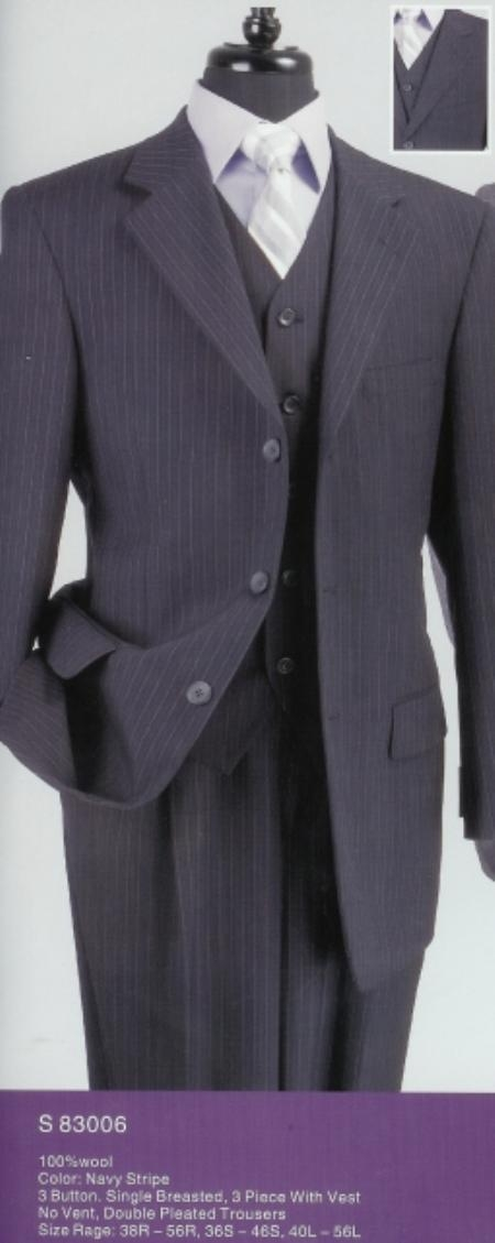 SKU#AL824 Navy Blue Stripe 3-Piece 100% Wool three piece suit No Vent Pleated Pants $189