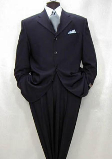 SKU# NSS743 Navy Blue Super 150s Wool 4 Buttons wool Italian Design $199