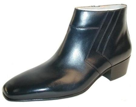 SKU#MU15548 Navy Blue all Leather Plain Toe Demi Boot, M Width Rubber sole Zipper closure $750