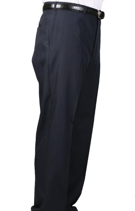 SKU#HV1684 Navy Bond Flat Front Trouser