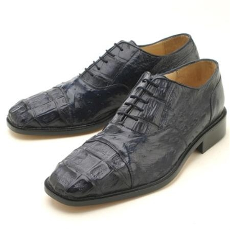 SKU#HKL225 Oxfords Navy Croc & Ostrich Lace-Up