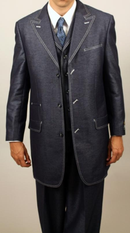 SKU#OZ534 Navy Denim Look 3PC Fashion Zoot Suit $199
