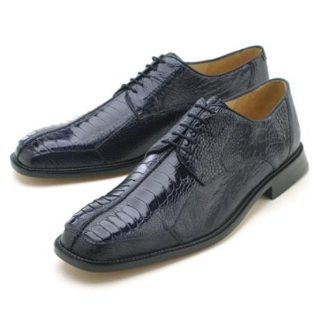 SKU#SRH711 Oxfords Navy Ostrich/Lizard Lace-Up