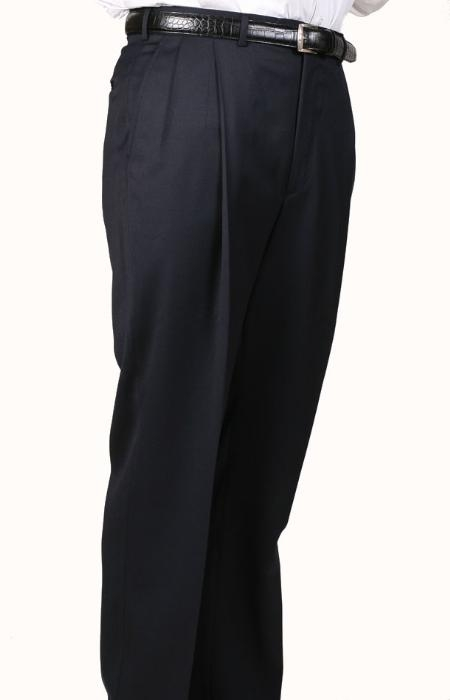 SKU#OZ3075 Navy, Parker, Pleated Pants Lined Trousers