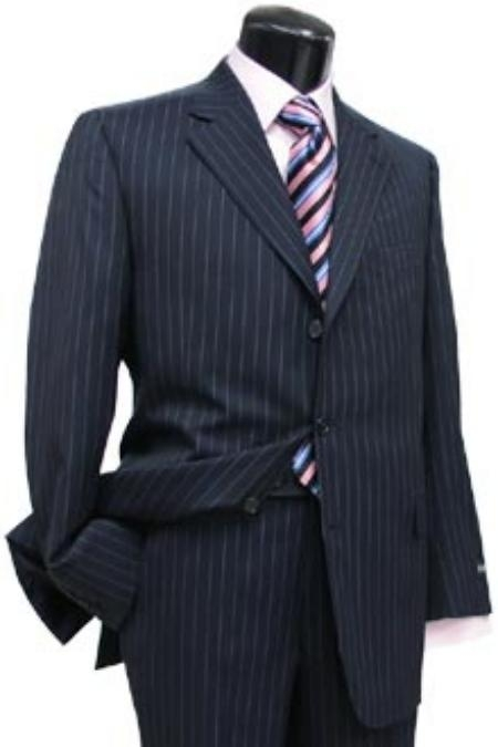1920s Mens Suits Navy Blue Pin Stripe  Pinstripe 3 Button Side Vent Jacket Super 150s Wool Suit $199.00 AT vintagedancer.com