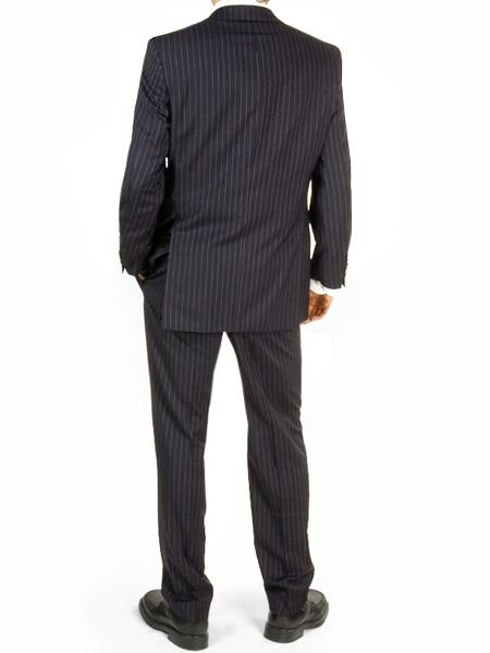 SKU# SLK8 Navy Pinstripe Double Back Vent Made InItay Men