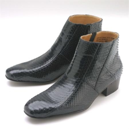 SKU#FNK345 Navy Snakeskin Demi Zip Boot $139