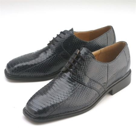 SKU#NL977 Navy Snakeskin Lace-Up $750