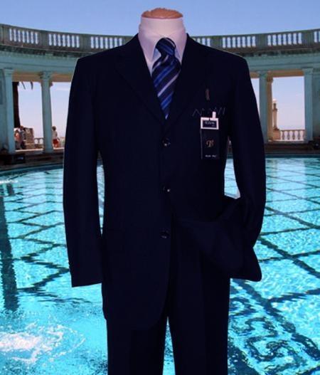 SKU#FJ191 Navy Solid Suit Super 150s Hand Made With No Pleated Pants $169