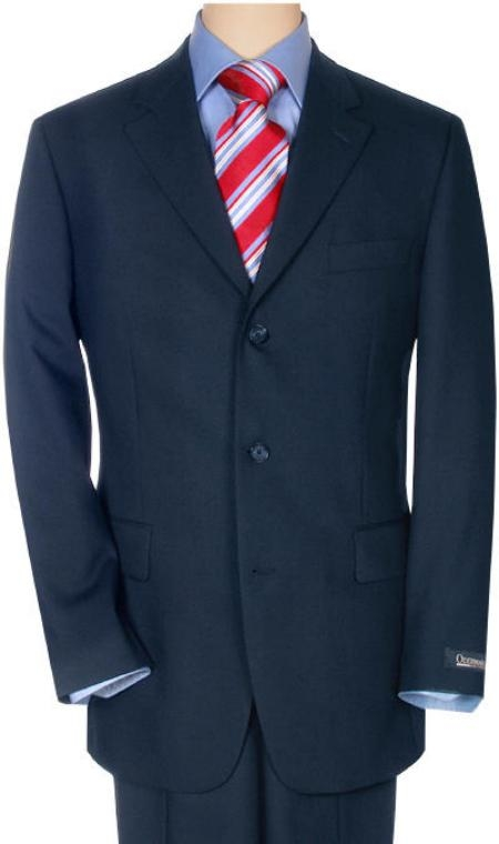 SKU# ZK277 Navy Super 120 Wool 3 Button premeier quality italian fabric Suit $175