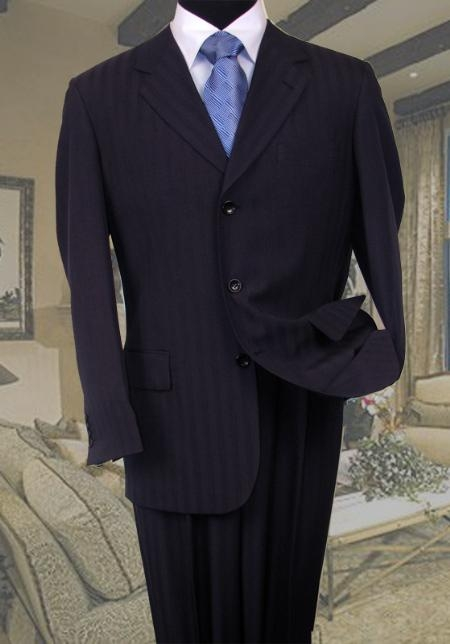 SKU#KW340 Navy Tone On Tone Stripe Suit Super 120s Hand Made $139