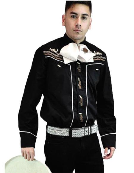 Men's Negro Long Sleeves Fashionable Button casual Cowboy Shirt