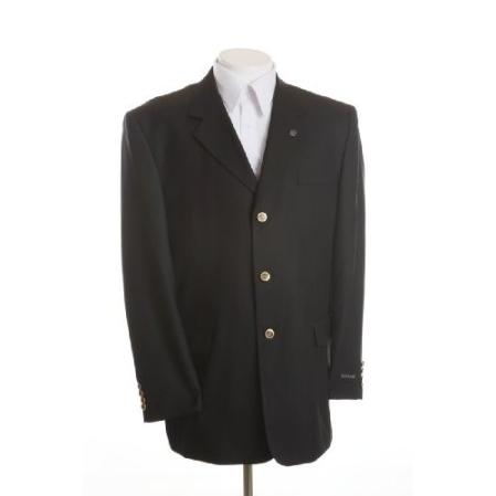 SKU# DIN34 New Mens Black Blazer - Three Button, Single Breasted Suit Jacket