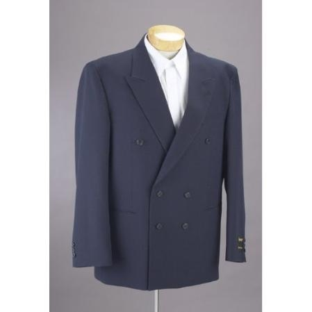 SKU#NS402 New Mens Double Breasted Navy Blue Dress Suit